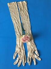 Antique Van Raalte Ivory Silk ? Rayon ? Lacy Opera Length Gloves 6 1/2 Vintage