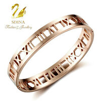 Stainless Steel With 18K White & Rose Gold Plated Stylish Roman Numerals Bangle