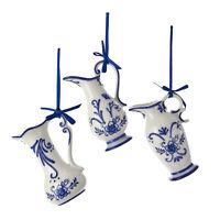 Set/3 Kurt Adler Delft Blue Pot Dutch Pottery Christmas Tree Decor Ornaments