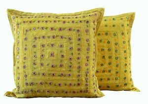 Set-2 Cotton Handmade Decorative Cushion Cover Indian Mirror Work Pillow Cover