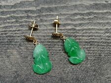 Green jade frog solid 14k yellow gold post dangle earrings