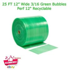 25 Ft 12 Wide 316 Green Bubbles Cushioning Wrapping Roll Perf 12 Recyclable
