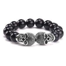 Stainless Steel Skull Bracelet Black Onyx Natural Stone Bead Charm UK Seller