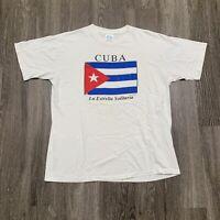 VINTAGE Cuba Shirt Adult XL White Flag Distressed Single Stitch 90s