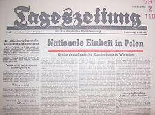 Original Zeitung 5.7.1945 Tageszeitung deutsche Bevölkerung Einheit Polens !