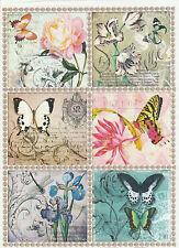 Carta di riso Vintage Farfalle Colorate per Decoupage Scrapbook Craft sheet