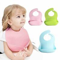 US! Soft Edible Grade Non-Toxic Silicone Adjustable Waterproof Baby Feeding Bib