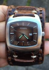 MENS  FOSSIL LEATHER STRAP  WATCH FULLY RUNNING NEW BATTERY MINT CONDITION