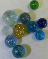 #11789m Vintage Group or Lot of 10 Rough German Handmade Mica Marbles .55 to .88