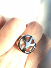 Vintage Silver Peace Sign Stainless Steel Ring