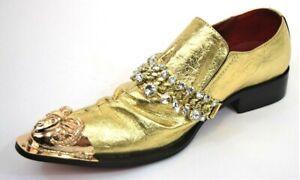 Men's Dress Casual Fancy Shoes Slip On Loafers Gold White Rhinestones FIESSO