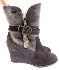 EMU Suede Sheepskin Lined wedge heel ankle Slouch Boots Grey 6 - 39
