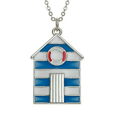 Blue Beach Hut Necklace Enamel Pendant Silver Fashion Jewellery Gift Boxed 18""