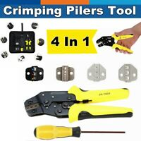 4 IN 1 Cable Wire Crimper Pliers Ratcheting Terminal Crimping Tool Kit Set US