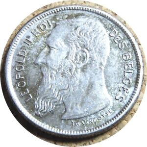 elf Belgium 2 Francs 1904 Leopold II  Silver without period