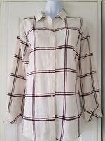 Womens Joules Lorena Loose Fit White Wine Check Flannel Shirt Blouse Top 10.