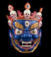 Maschera Mahakala Dieu Courroucé 45cm Himalaya Tantra Sciamano Tibet Nepal 26613