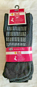 MB55 BY EXCELL MEN'S 3-PACK BLACK SOCKS +MEDI - NO RUBBER NO MARK Cotton Blend