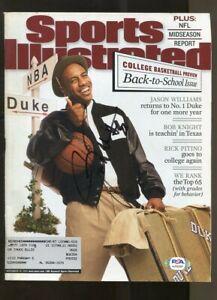 Jason Williams Signed 2001 Sports Illustrated 11/19 Autographed Duke PSA/DNA