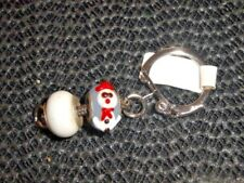 Winter snowman doing the splits keyring bag phone purse charm jewellery
