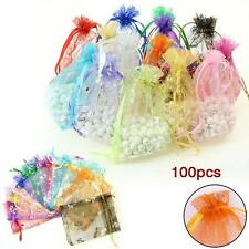 100Pcs 10x9cm Mixed Random ORGANZA Wedding Favour GIFT BAGS Jewellery Pouches #B
