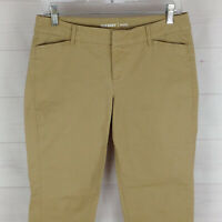 Old Navy Pixie women size 2 stretch beige flat front mid rise tapered chino pant