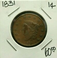 1831 1C Coins: Us > Large Cents > Coronet Head