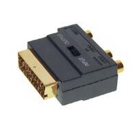 TV SCART Adapter vergoldet SVHS Cinch AV Chinch RCA S-Video in/out umschaltbar