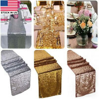 """Glamorous Sparkly Bling Sequin Table Runner for Wedding Party Decor 12""""x108/70"""""""