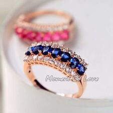 Wedding Engagement Blue Precious Stone Rose Gold  simulated diamond Ring size 8