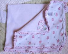 Just One You Cotton Pink & White Stripes w Owls & Heart Baby Girl Blanket Euc