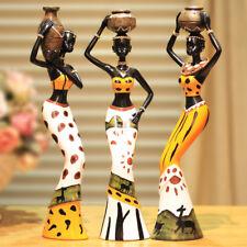 3pcs/set African Girls Resin Furnishing Crafts Dolls Ornaments Living Room Decor