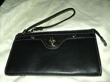 Coach Penelope Black Leather Wallet Wristlet  F45647 $158 NWT
