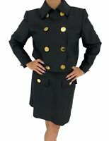 Auth Yves Saint Laurent Vintage YSL Logo Jacket Skirt Suit Set #38 Black RankAB