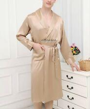 Mens Satin Silk Pajamas Kimono Robe Gown Loungewear US S to  5XL