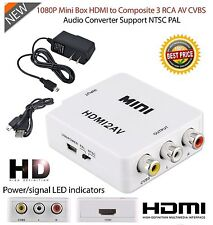 1080P Mini HD Converter Box HDMI to AV RCA CVBS Composite Video Audio Adapter AC