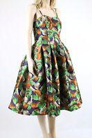 ASOS Metallic Multi Color Leaf Jacquard Prom Party Midi Dress UK SIZE 12 40