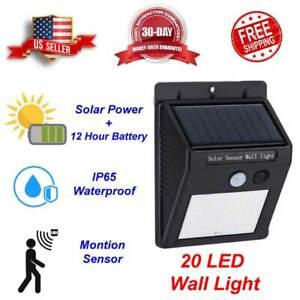 20 LED Outdoor Solar Power Motion Sensor Wall Flood Light Waterproof Yard Lamp