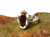 Cognac  AMBER   Sterling  Silver  925  Gemstone  RING  -  Size: M -  Gift Boxed!
