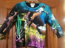 Kolorway Vintage Hand Painted Cowboy Horse Sweatshirt/Sweater - Medium