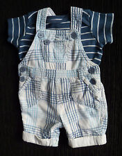 Baby clothes BOY 0-3m NEXT dungarees/ stripe blue t-shirt 2nd item post-free!