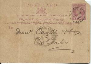 1892 Postcard Used Gampola to Colombo 3c QV Missing Corner Both sides Shown