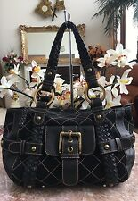 ISABELLA FIORE CARINA QUILTED BLACK LEATHER TOTE HOBO SHOULDER HANDBAG PURSE EUC