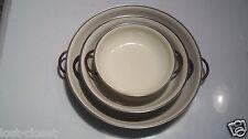 3 VINTAGE Nesting Brown Ivory Enamel Frying Saute Pan Skillet @ cLOSeT
