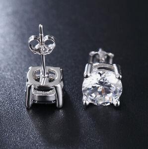 Cool 925 Silver Mens Stud Earrings Studs 5mm Stone Crystal Man Jewelry Earrs