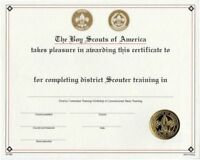 BOY SCOUT OFFICIAL BSA ADULT LEADER DISTRICT SCOUTER TRAINING CERTIFICATE 8.5x10
