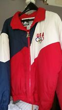 Olympic Jacket, 1980s Quilted and Olympic Gold plated pin.