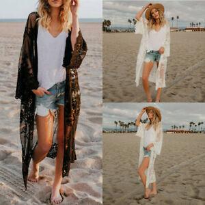 Women Lace Kimono Blouse Coat Boho Casual Cardigan Beach Bikini Cover Up Tops