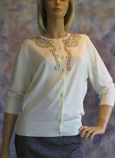 NWOT APOSTROPHE Cream Color Beaded Cardigan Sweater Sz XL  Nylon Angora Blend