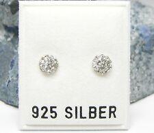 NEU 925 Silber 6mm OHRSTECKER 2mm STRASSSTEINE kristallklar OHRRINGE halbrund